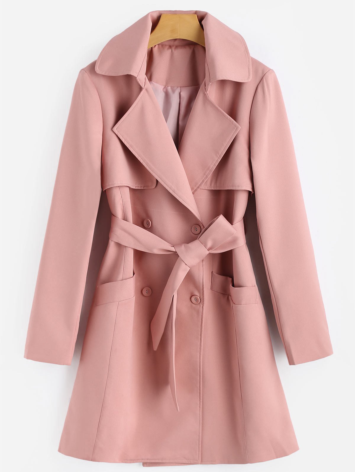 Image of Belted Double Breasted Lapel Coat