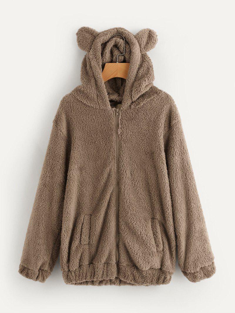 Bear Hooded Furry Coat