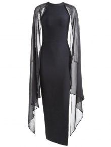فستان الضمادة عالية الانقسام شيفون - أسود L