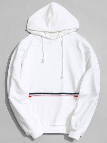 هوديي مخطط بجيب الكنغر - أبيض L