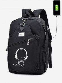 حقيبة ظهر بطبعة كرتون مضيئة مع فلاشة للشحن - أسود