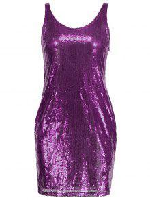 Robe Ajustée Sans Manches à Sequins - Violet M