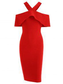فستان الضمادة كشكش الحاشية الرقبة V - أحمر S