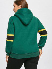 0224b9f552a 2019 Plus Size Stripe Insert Fleece Lined Pocket Hoodie In GREEN 5XL ...