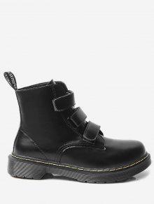 حذاء الكاحل مخيط من الجلد المزيف ذو كعب منخفض - أسود 40