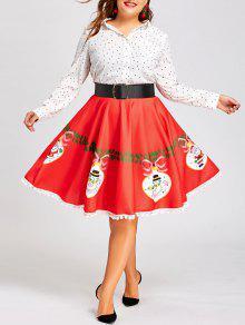 Falda Estampada Con Vuelo Y Estampado De Lunares Pom Pom - Rojo 5xl