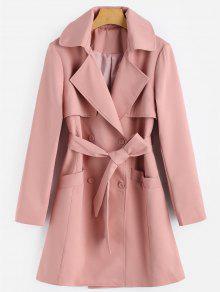 Dwurzędowy płaszcz z klapami w pasy