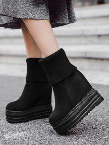 Platform Wedge Heel Mid-calf Boots BLACK: Boots 37 | ZAFUL