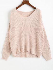 V Neck Lace Up Sleeve Chunky Sweater