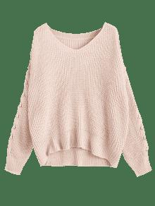 V Neck Lace Up Sleeve Chunky Sweater LIGHT PINK: Sweaters ONE SIZE ...