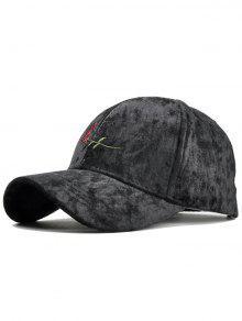 روز التطريز مزين من جلد الغزال قبعة بيسبول - أسود