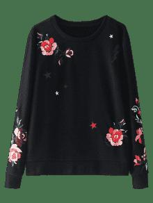 Floja Algod Bordada Negro Floral Del S Sudadera 243;n 1wEFff