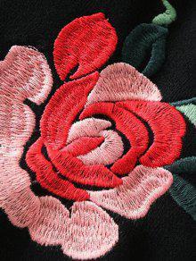 Floja Sudadera Negro 243;n Bordada Floral Algod Del S rEng7Exq
