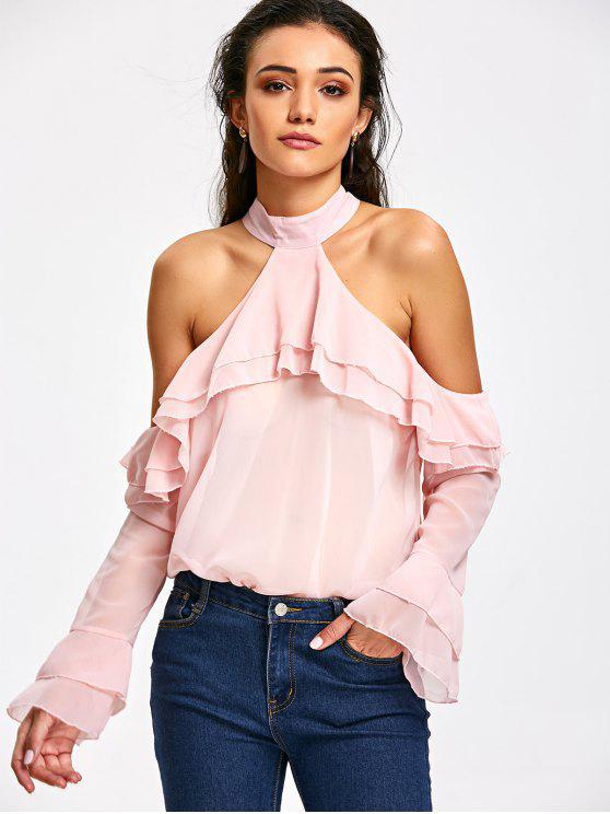 Blusa con hombros fruncidos y fruncidos - Rosa Luz S