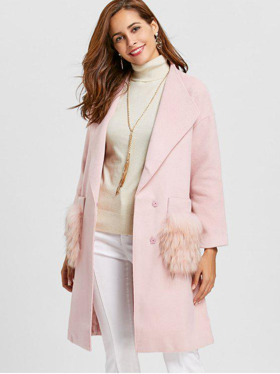 shop Fur Pockets Shawl Collar Wool Blend Coat - PINK XL