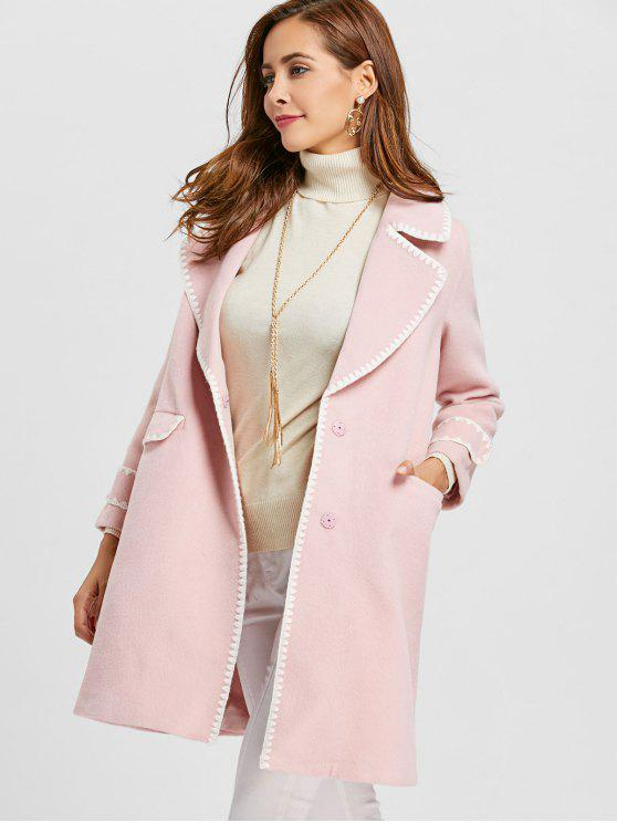 best Piping Two Buttons Wool Blend Coat - PINK S
