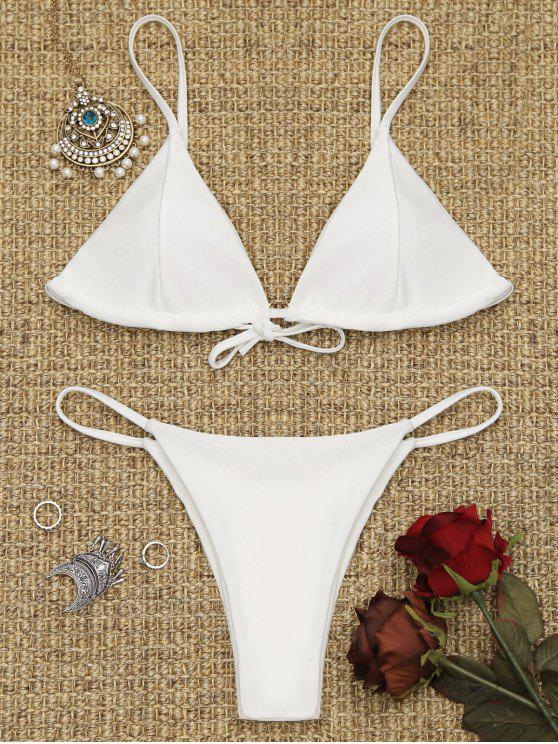 outfits Cami Back Tied Thong Bikini Set - WHITE XS