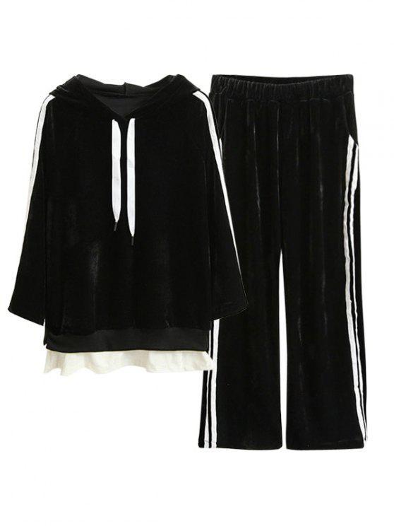Pull Rayé en Velours avec Capuche et Pantalon Gaucho - Noir XL