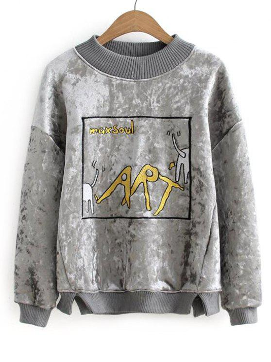 best Graphic Velvet Sweatshirt - GRAY ONE SIZE