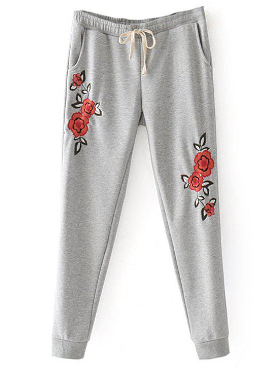 new Floral Embroidered Jogger Pants - GRAY M