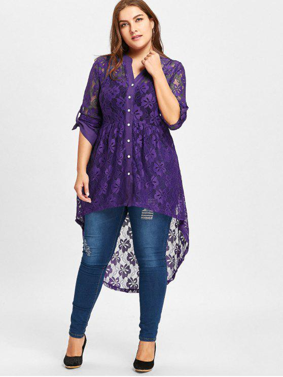 c5828448ada 38% OFF  2019 Long Sleeve High Low Lace Plus Size Top In PURPLE 4XL ...