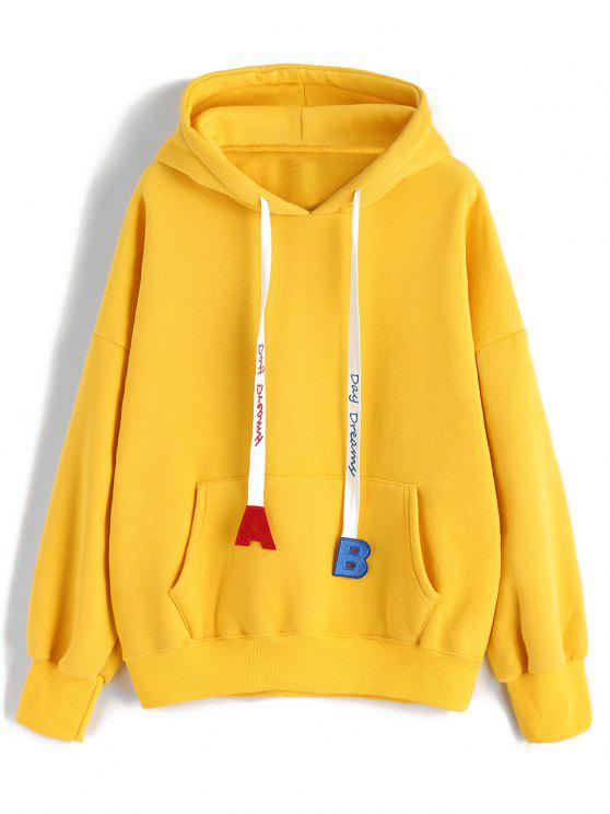 shop Drawstring Oversized Letter Embroidered Hoodie - YELLOW ONE SIZE