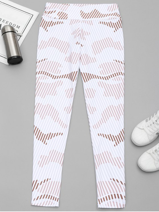 chic Striped Yoga Leggings - WHITE M