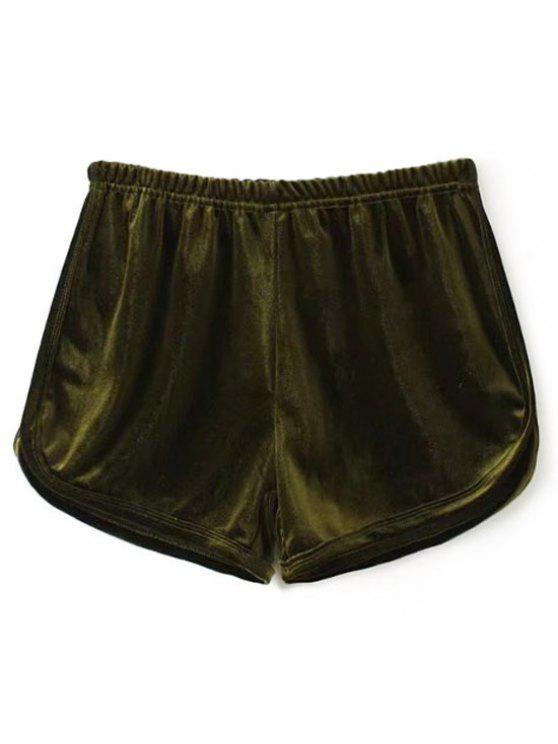 women's Velvet Dolphin Shorts - ARMY GREEN ONE SIZE