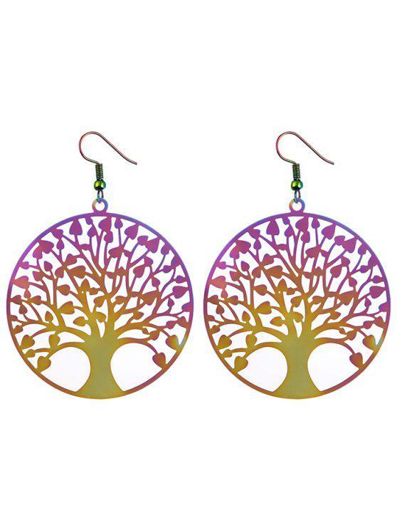 ladies Tree of Life Round Hook Earrings - COLORMIX