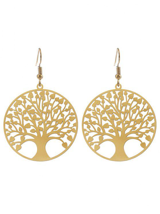 lady Tree of Life Round Hook Earrings - GOLDEN