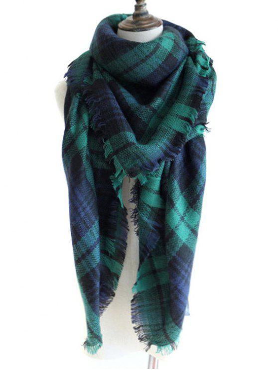 Lenço de xaile com lã de falso com padrões padrão verificado - Verde Escuro