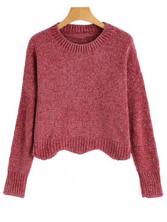 unique Pullover Scalloped Hem Cropped Sweater - SPICE ONE SIZE