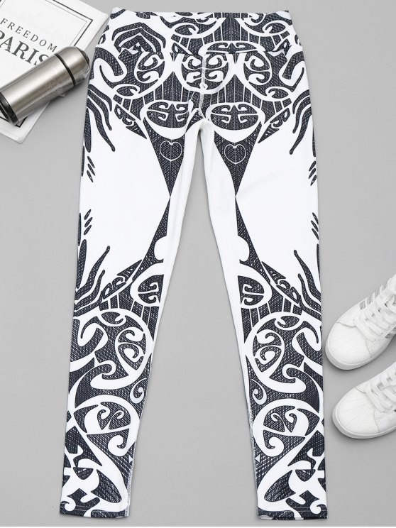 women's Printed Yoga Leggings - WHITE AND BLACK XL