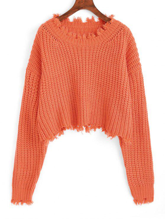 lady Frayed Chunky Crop Sweater - ORANGE ONE SIZE
