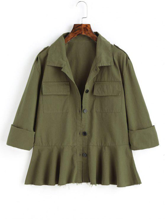 new Frayed Hem Button Up Jacket with Pockets - ARMY GREEN S
