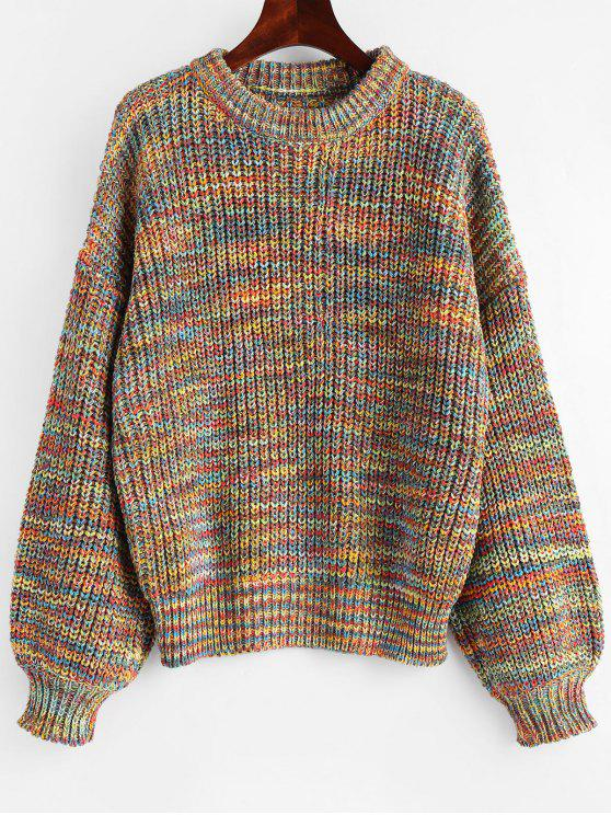 Lantern Sleeve Multicolored Chunky Sweater MULTI: Sweaters ONE ...