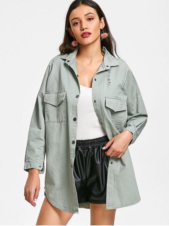 fancy Distressed Oversized Jacket - PEA GREEN L