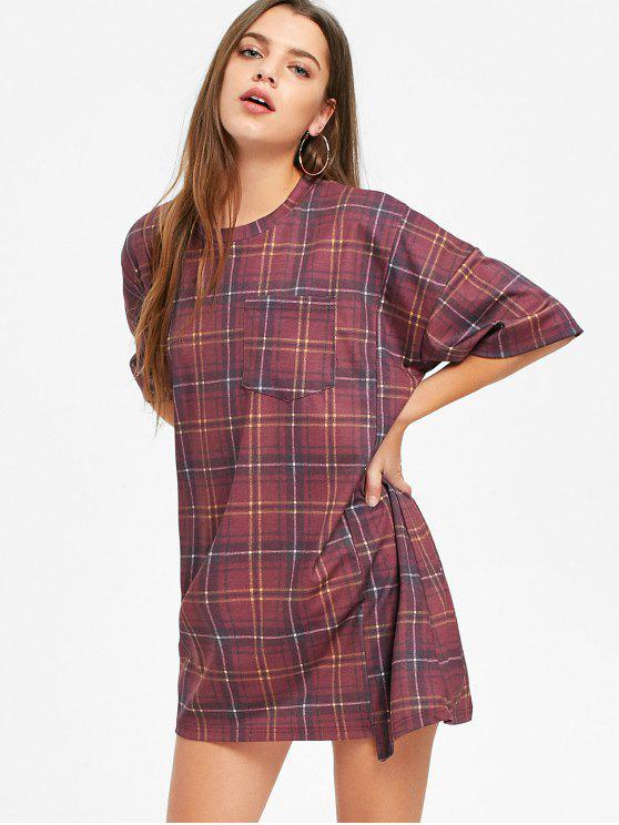 online Short Sleeve Checked Shift T Shirt Dress - WINE RED L