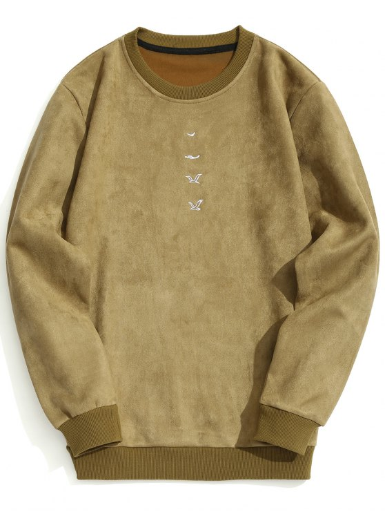 latest Embroidered Suede Sweatshirt - KHAKI M