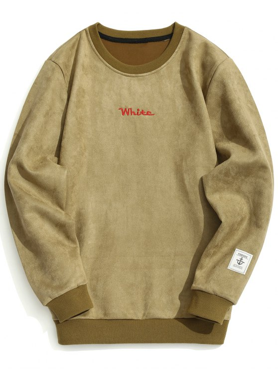 buy Letter Embroidered Suede Sweatshirt - KHAKI M