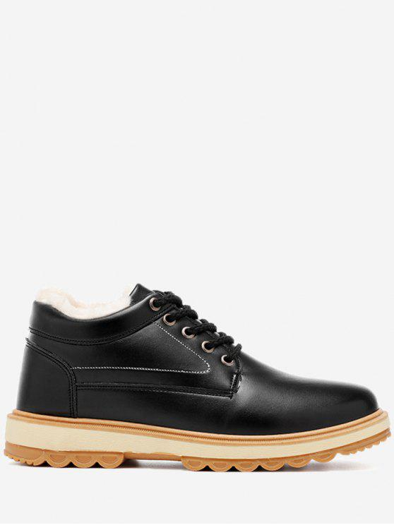 Stitching PU Leather Low Heel Casual Shoes - Preto 41