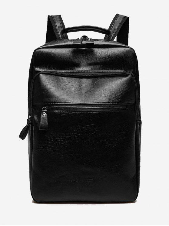 women's PU Leather Multi Function Backpack - BLACK