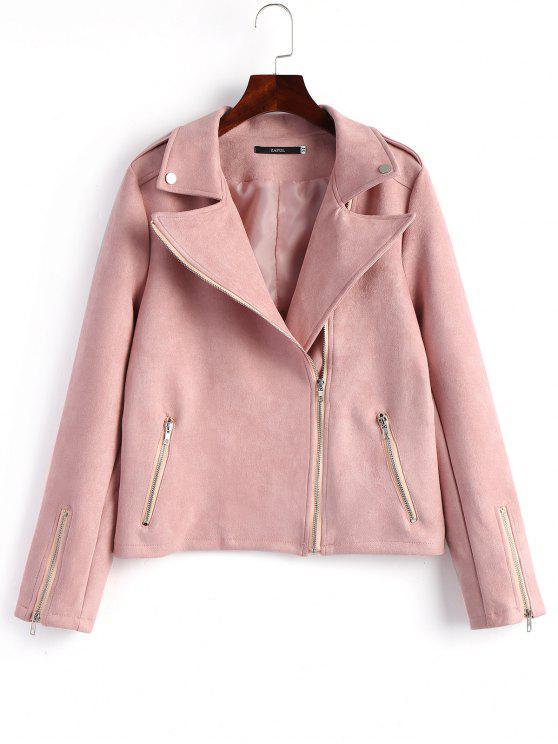 trendy Faux Suede Asymmetrical Zipper Jacket - PINK L