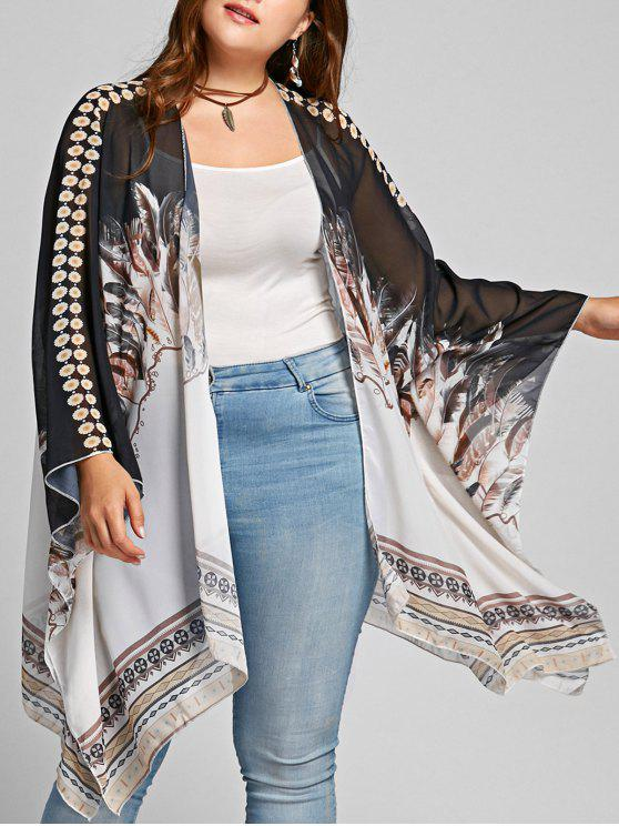 Plus Size Feather Print Open Front Poncho Coat - colori misti Una Taglia