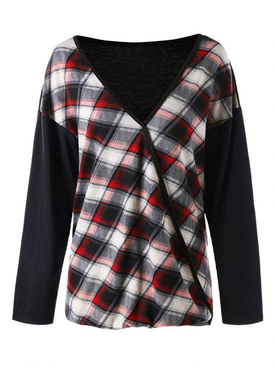ladies Plus Size Plaid V Neck T-shirt - RED XL