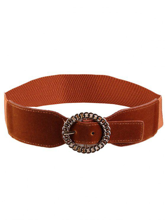 latest Hollow Out Round Shape Buckle Elastic Waist Belt - CHOCOLATE