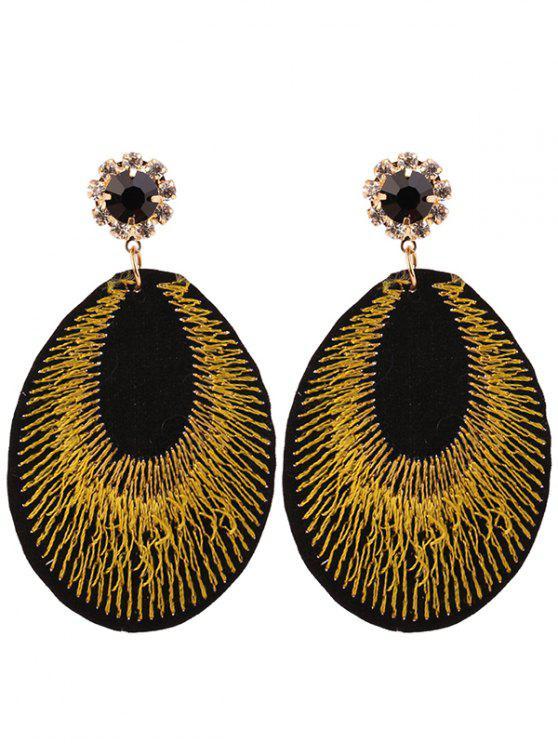 Pendientes de bohemia de bordado de lágrima de diamantes de imitación - Amarillo