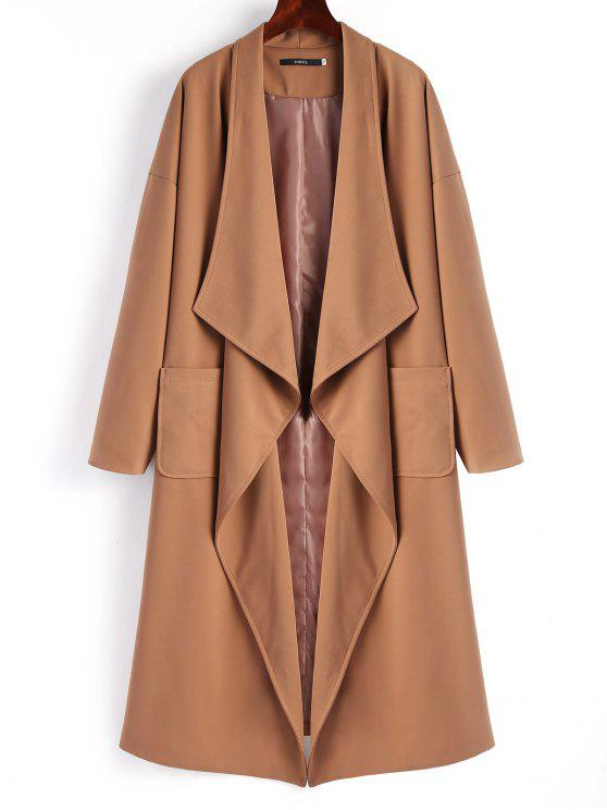 chic Belted Waterfall Trench Coat - DARK CAMEL S