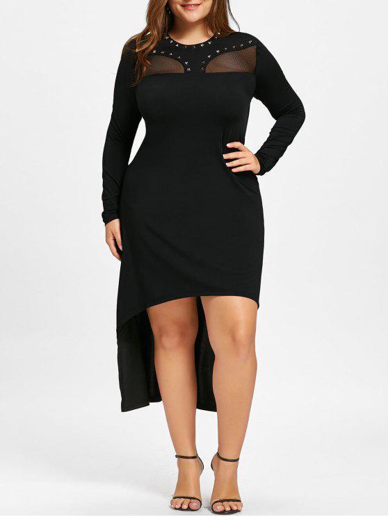 f16b365396 37% OFF] 2019 Plus Size Mesh Insert High Low Hem Dress In BLACK | ZAFUL