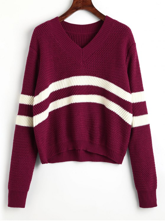 trendy Pullover Stripes Panel V Neck Sweater - WINE RED ONE SIZE
